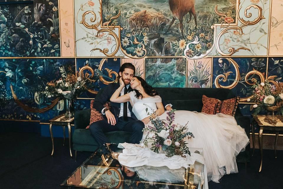 Happy couple in the ballroom