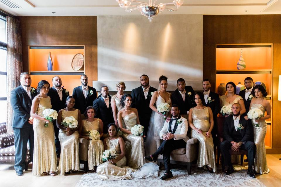 Newlyweds with the bridal party