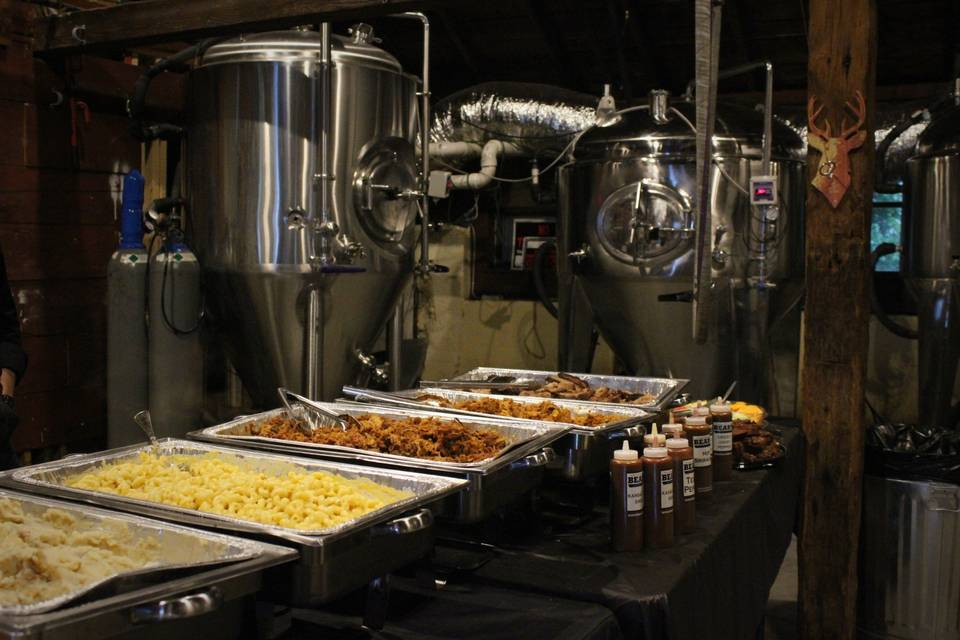 Buffet in a brewery