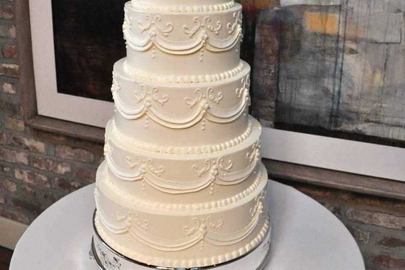 Six tier white cake