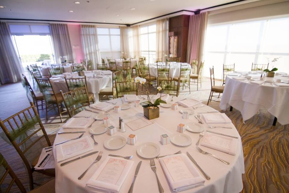 Table setup with centerpieces