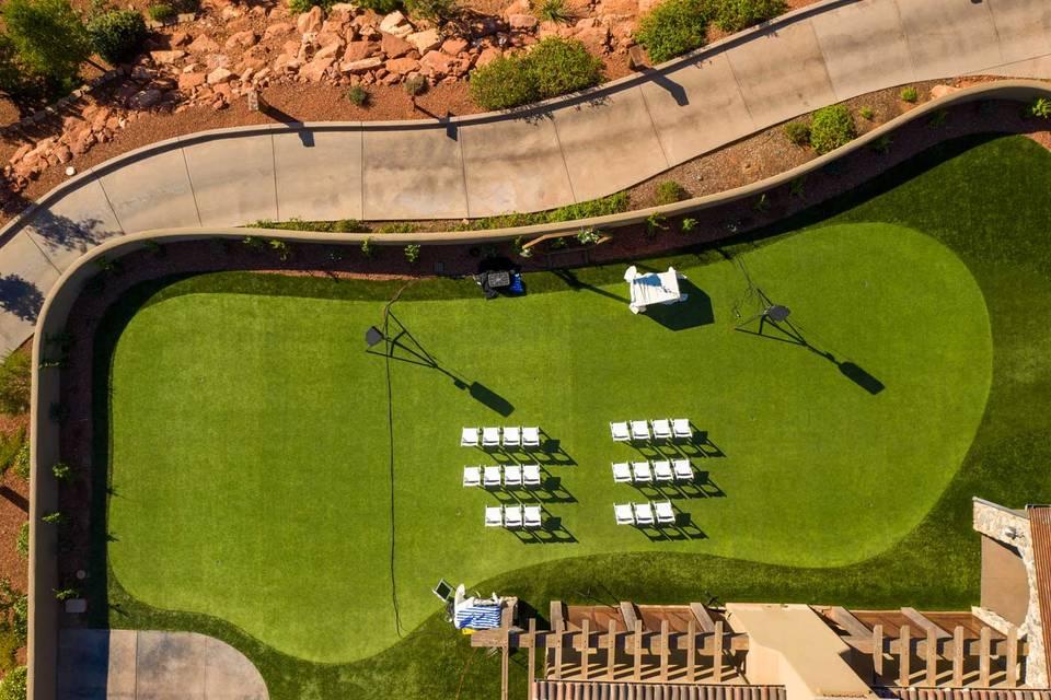Event lawn overlooking fairway