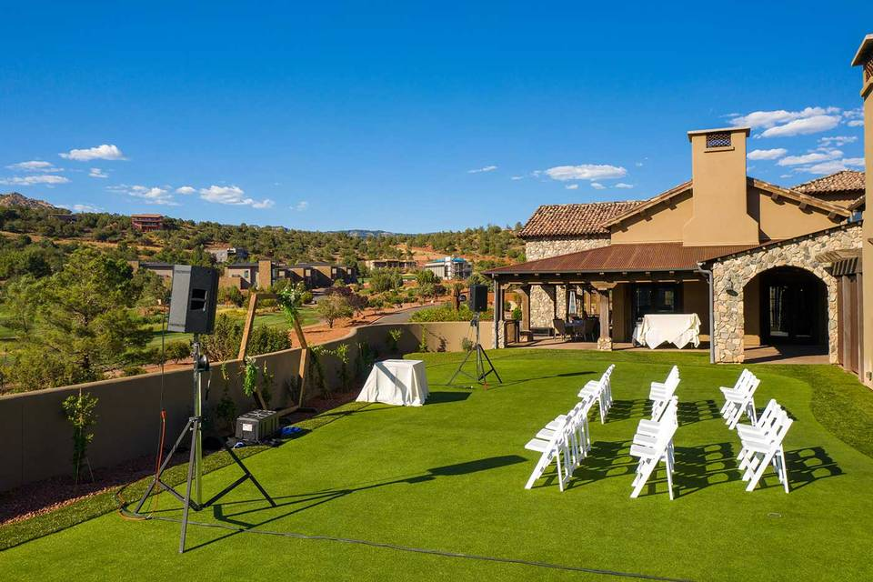 Event Lawn with red rock views