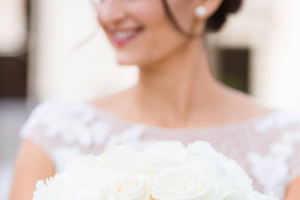 This classic bridal bouquet is perfect for a May or June bride with peonies, hydrangea and roses