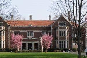 Front of Waveny House in bloom