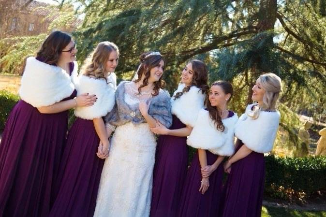 Fur capes for your bridesmaids