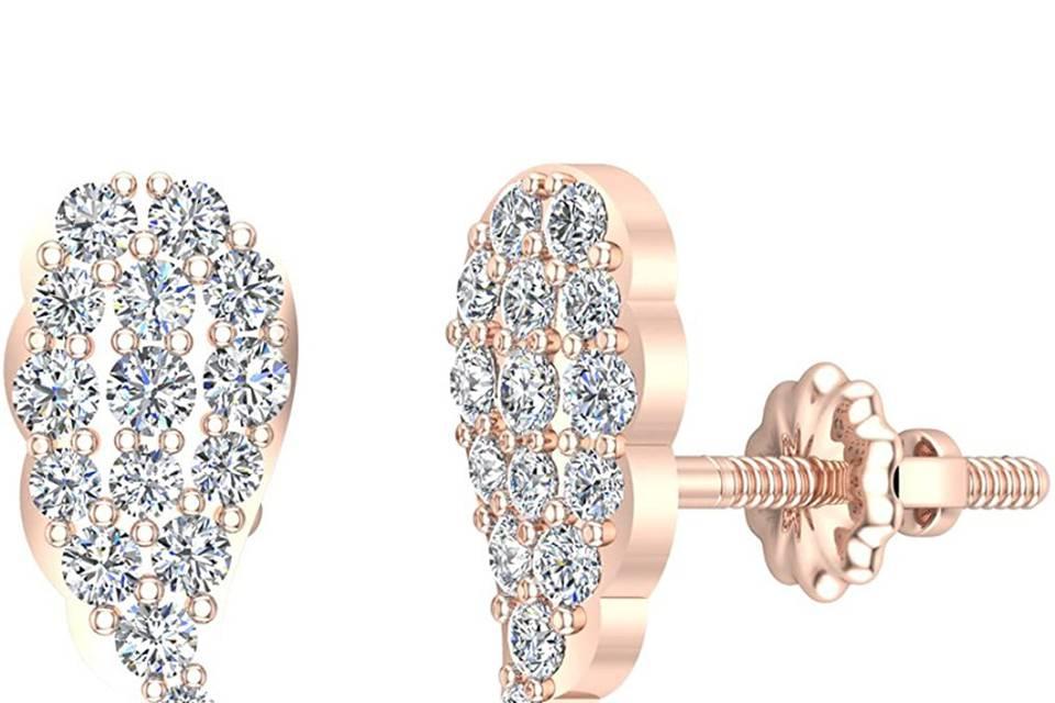 14K Rose Pink Diamond Cluster