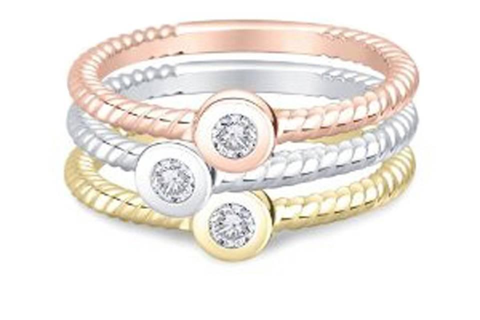 Trio diamond stackable ring