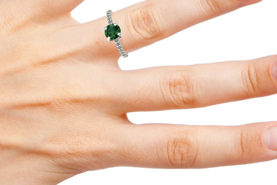 Forest green diamond solitaire
