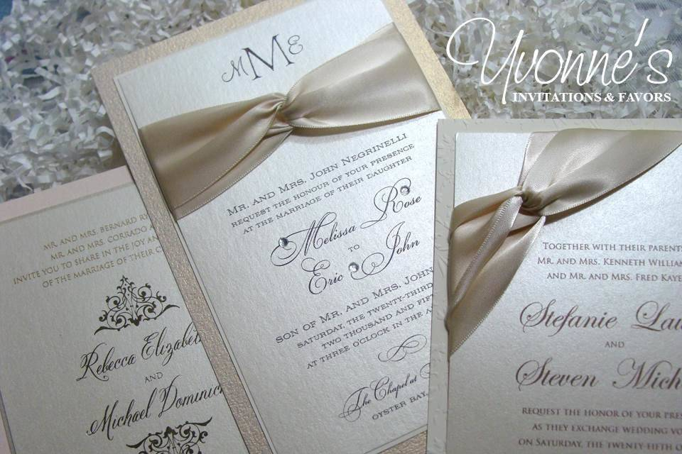 Ivory and Gold Invitations