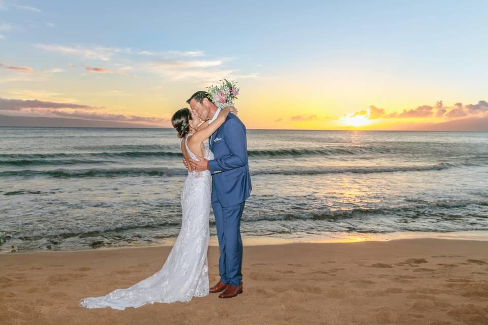 Sunset Kiss Maui Beach