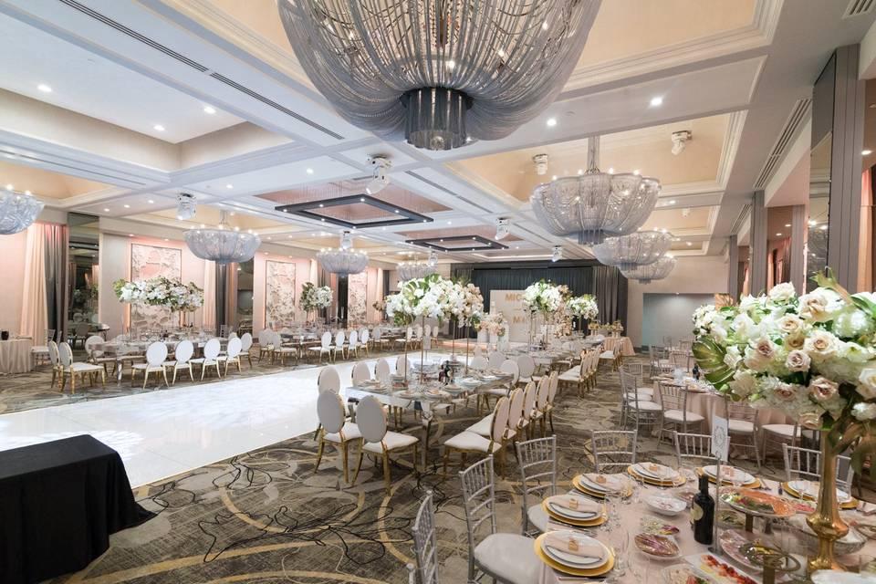 Lavish wedding reception set up