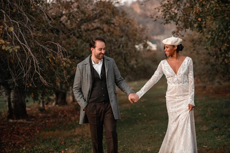Newlyweds in orchard