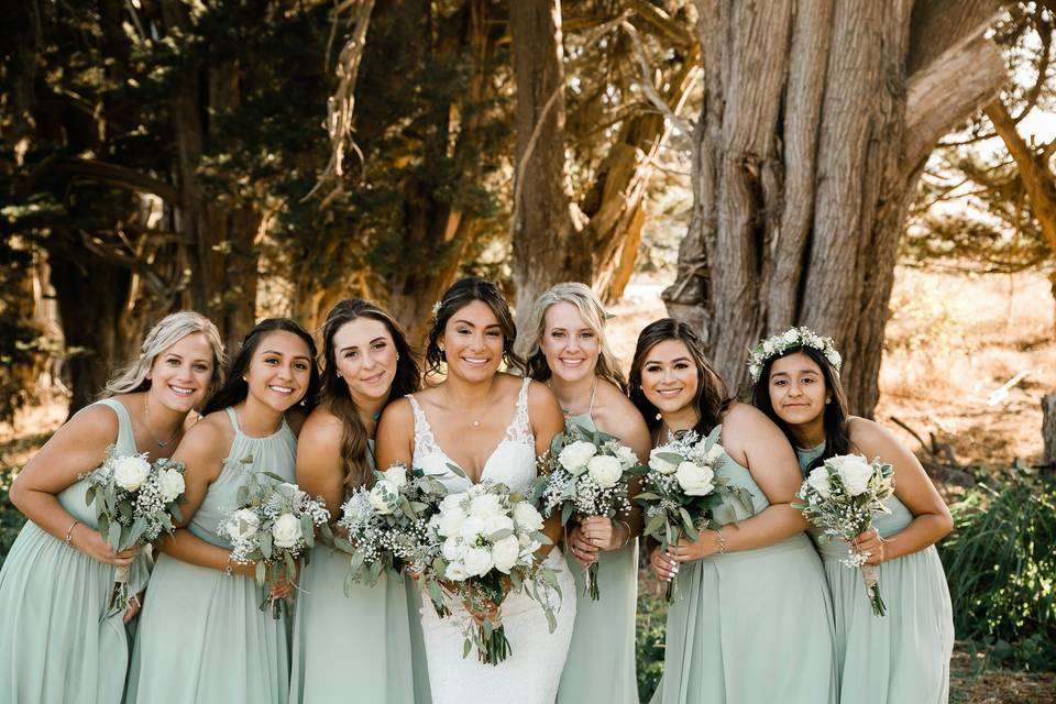 Happy large bridal party