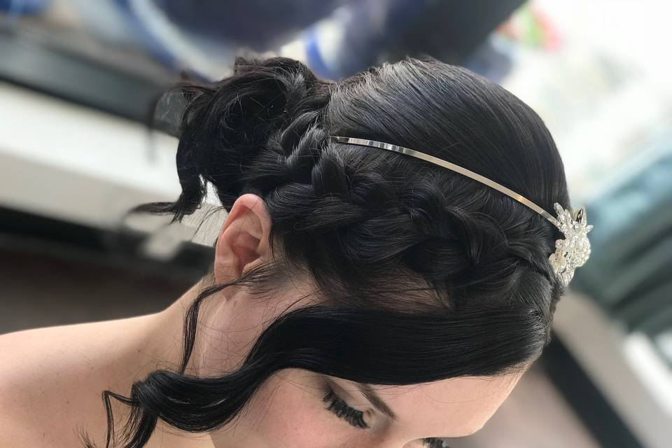 Braid and side bangs
