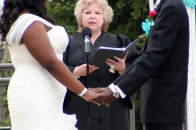 Amina and Larry's vow renewal ceremony in the Rose Garden of the Bolingbrook Golf Club in Bolingbrook, IL