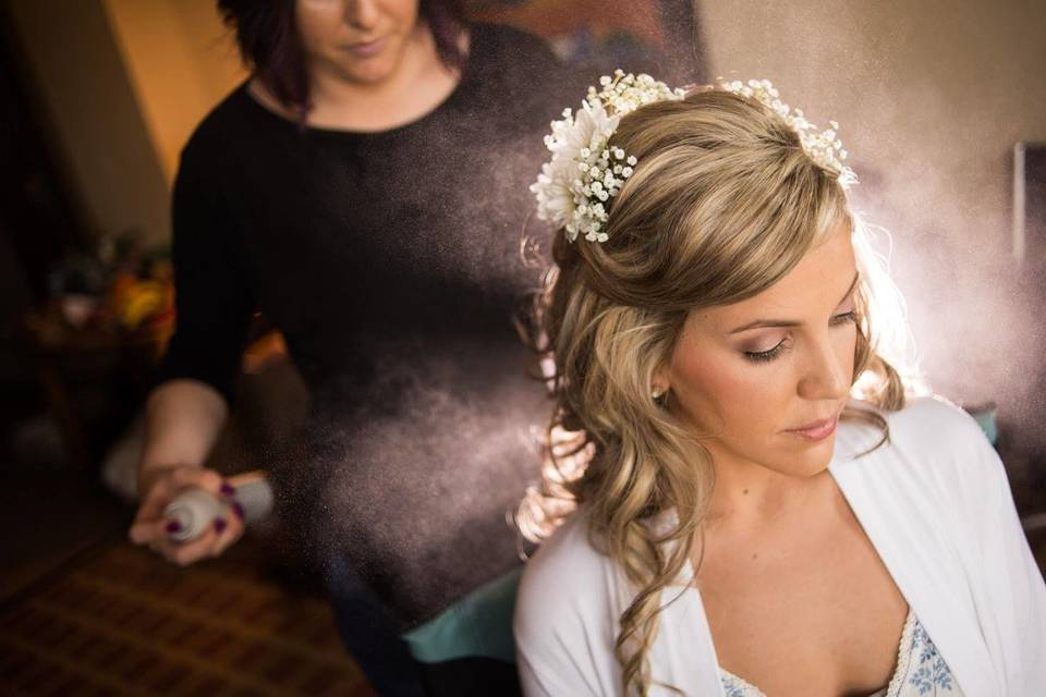 Hair by Jessica Baroni, makeup by Kellie Tiffin