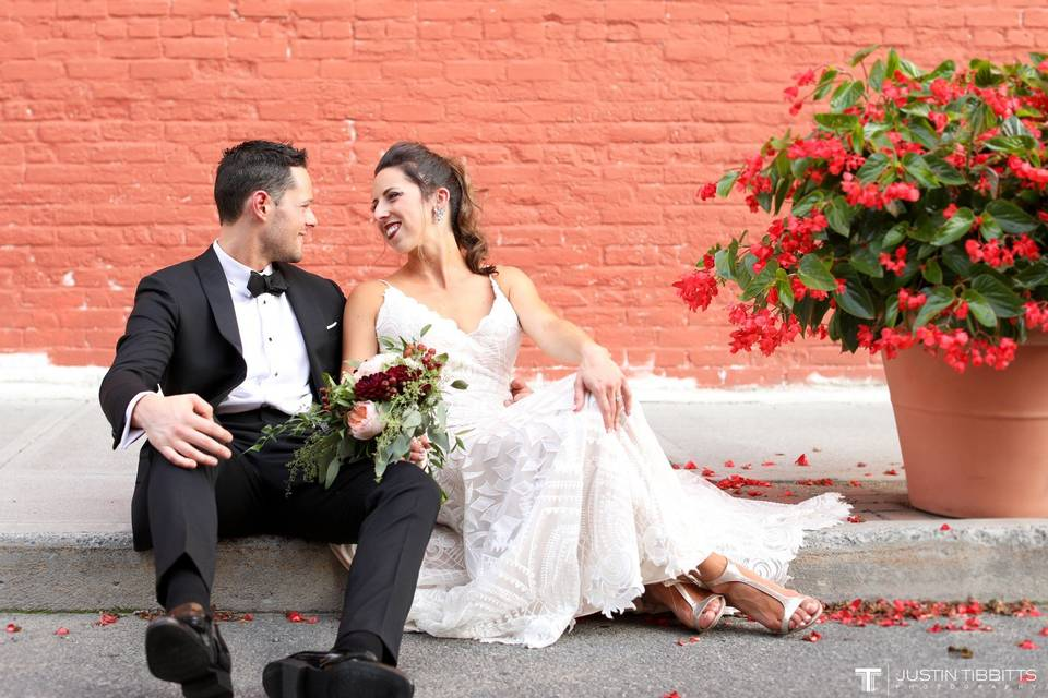 Couple photo by the sidewalk