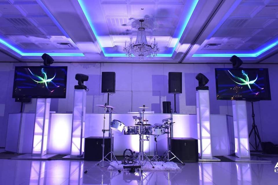 DJ booth and drum set