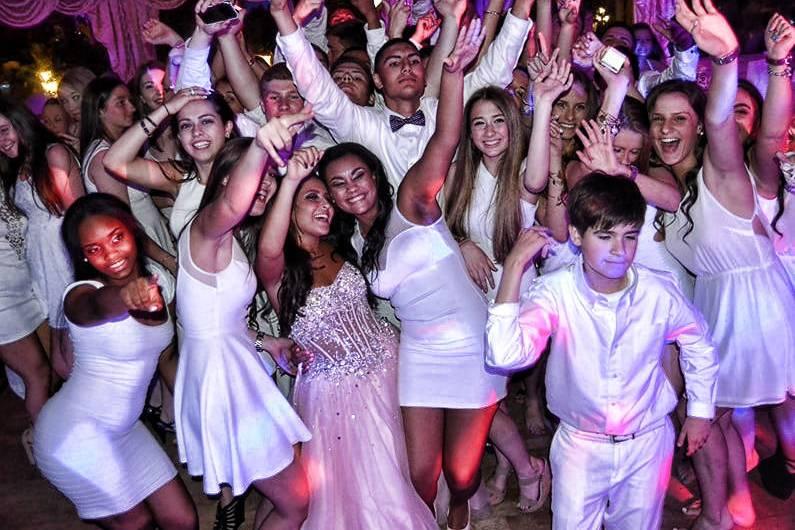 White attired party