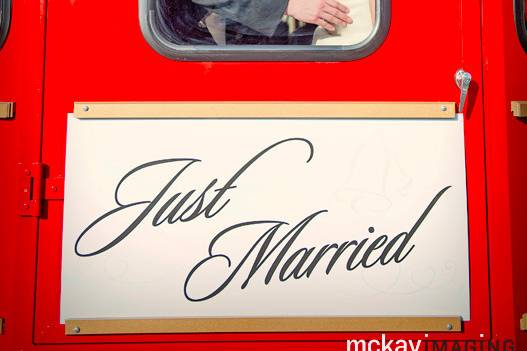 Sweet kiss inside the trolley