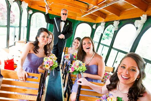 Inside the wedding trolley