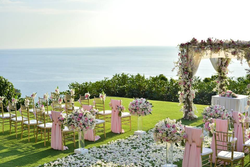 Luxury outdoor wedding setup