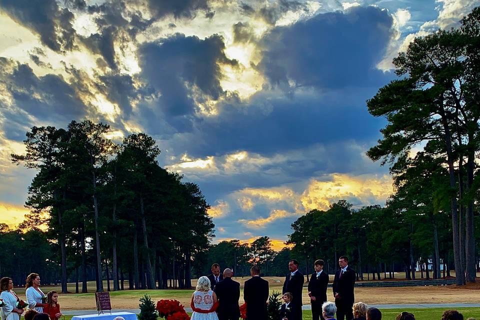Outside sunset ceremony