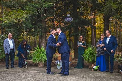 Romantic ceremony in forest