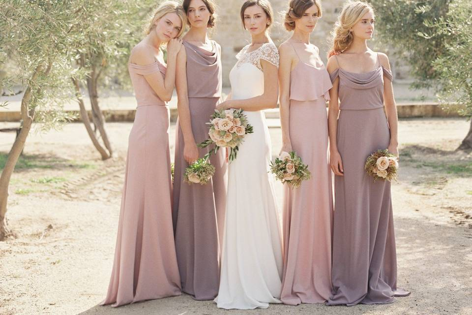 Crepe De Chine Collection: Sabine, Madelyn + Blake Dresses in Fig + Whipped Apricot