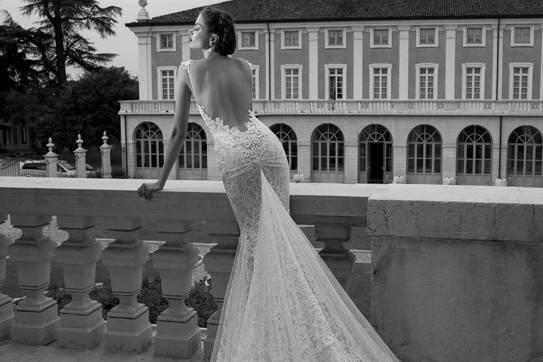 Open back wedding dress with long train