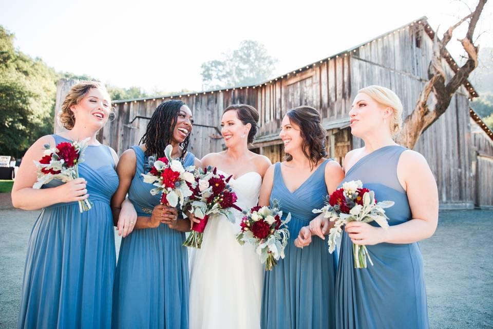 Steel blue bridesmaid