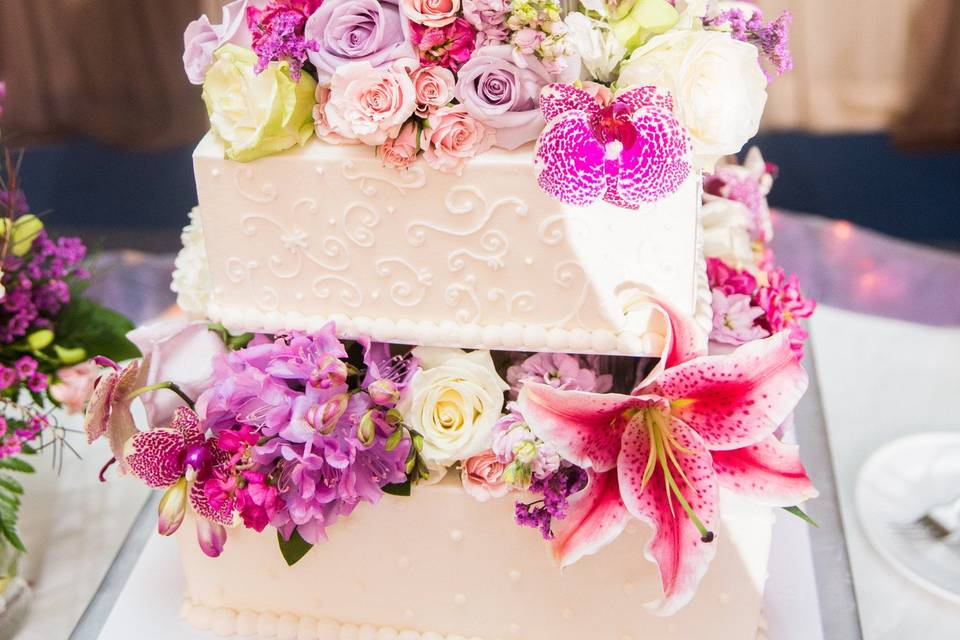 3-tier floral wedding cake