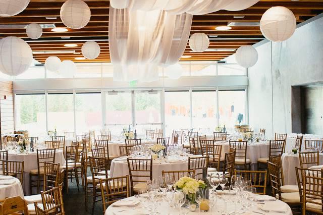 Reception hall drapes and lanterns