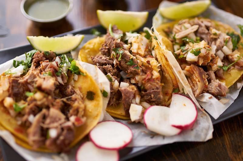 Premium steak tacos and specially seasoned carnitas