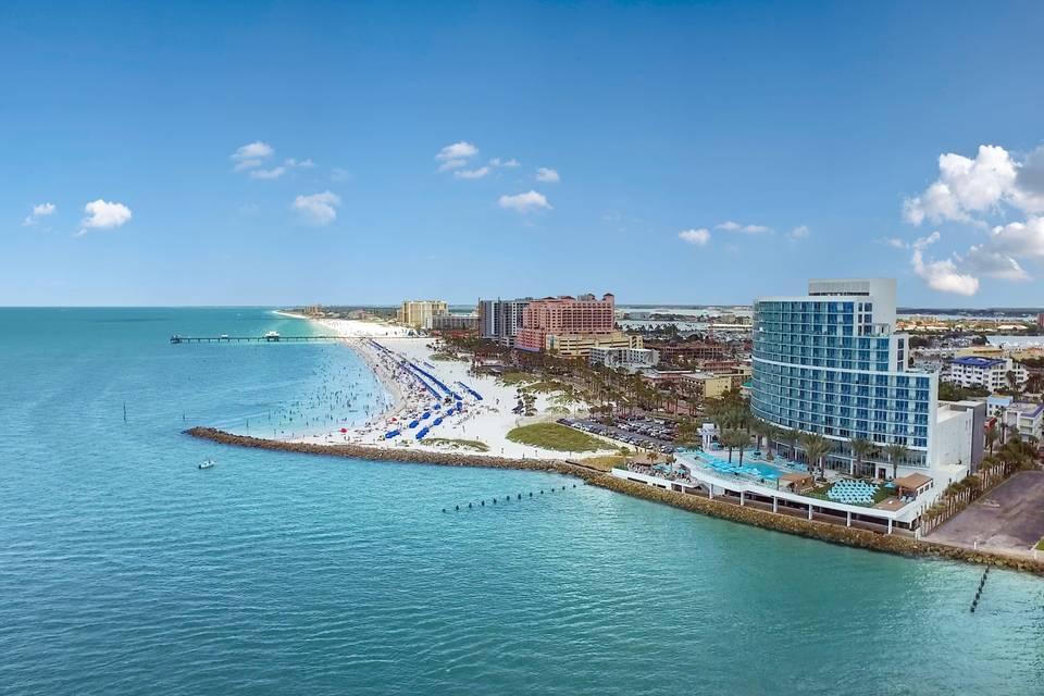 Beach view of the Resort