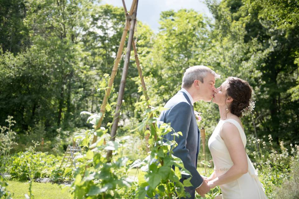 Kissing by the greenery