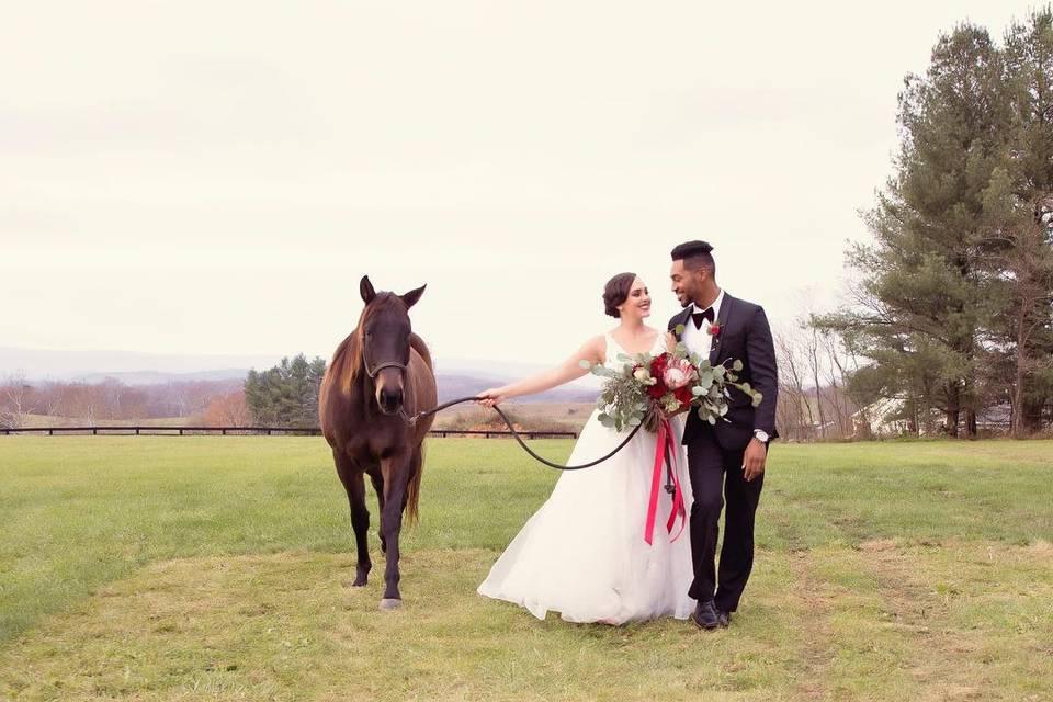 Newlyweds with horse