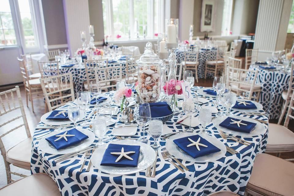 Blue pattern linens