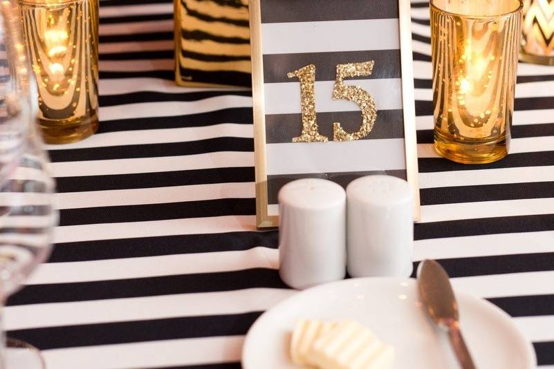 Stripped linens for reception table