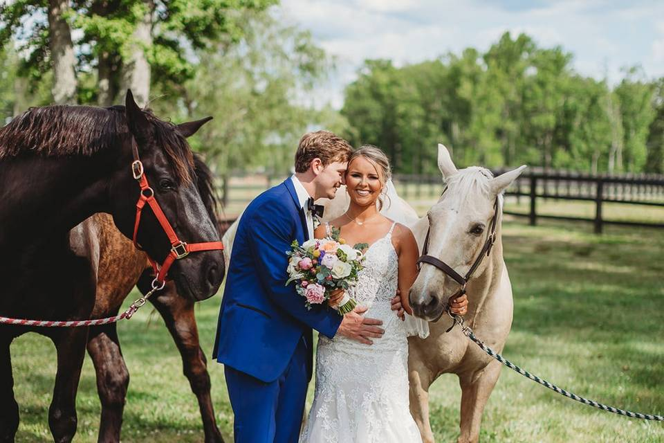 Wedding portraits w/ horses