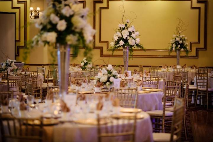 Table with floral centerpieces