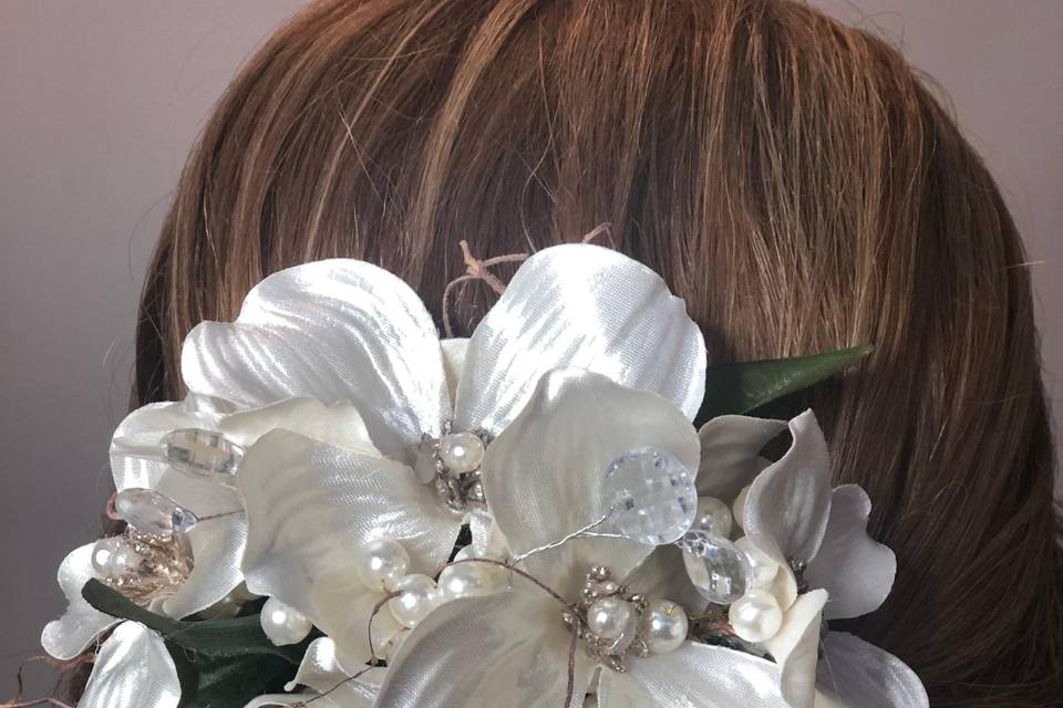 Up style flower hair piece