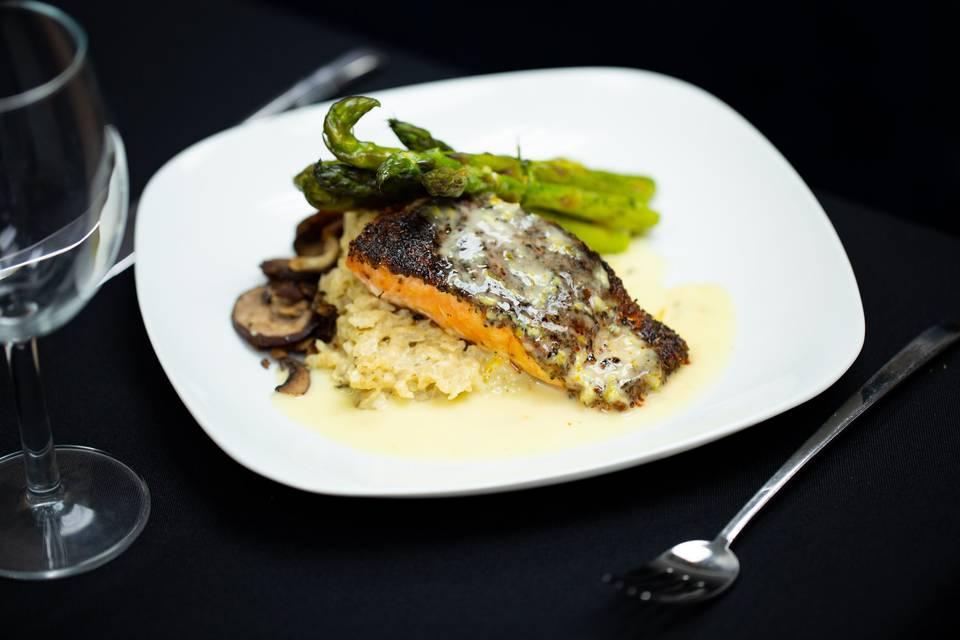 Blackened salmon, asiago risot