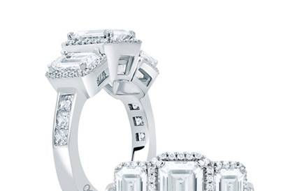 A.JAFFE Classic Designer Three-Stone Halo Engagement Ring with Emerald Cut Diamonds Style # MES694 Available in Platinum, White, Yellow, or Rose Gold Can be built with any size or shape center stone.