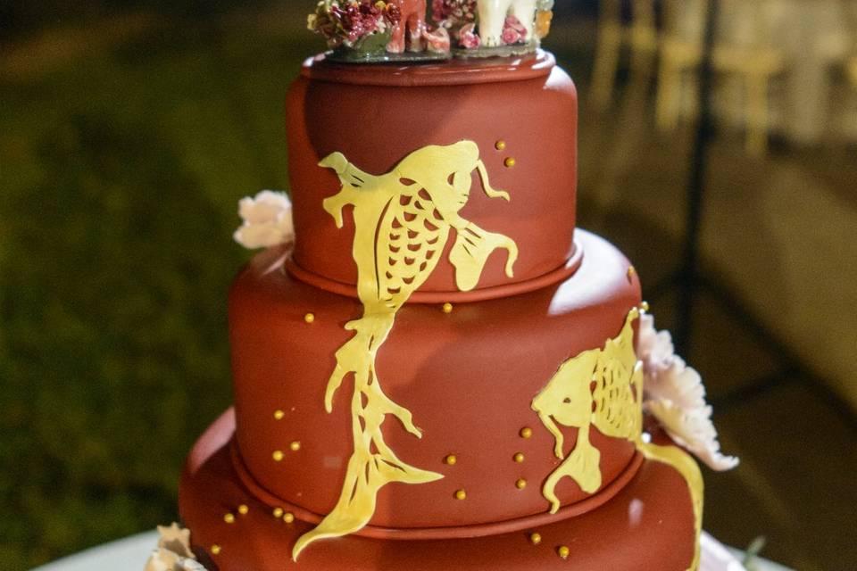 Dancing Koi Wedding Cake