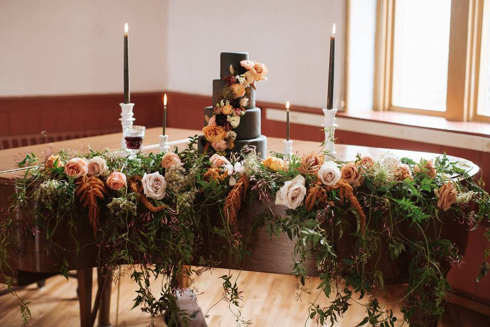 Wedding cake on piano