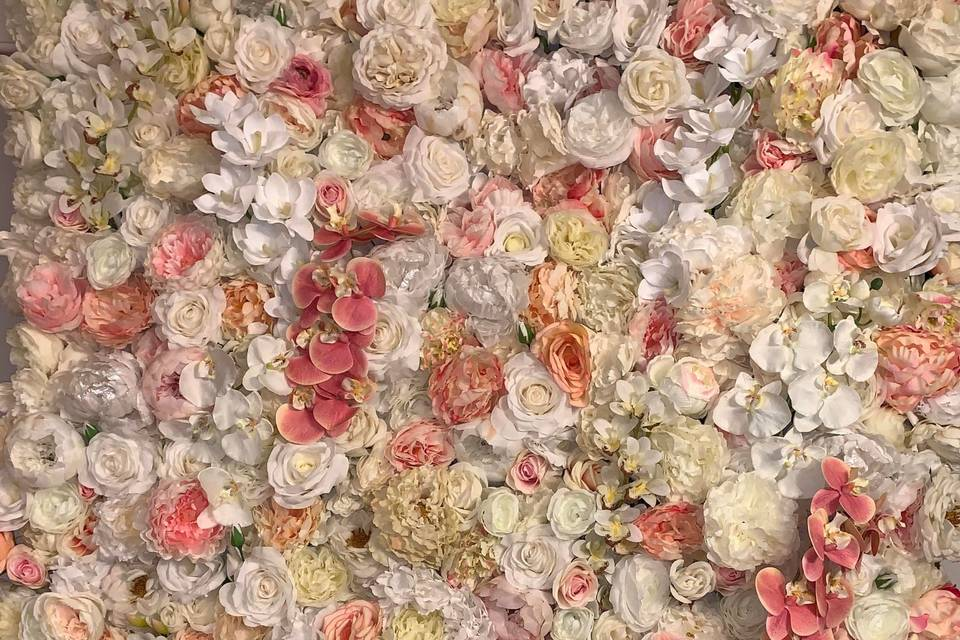 Ivory and pink flower wall
