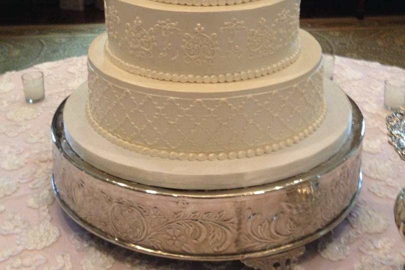 Lace tiers and monogram
