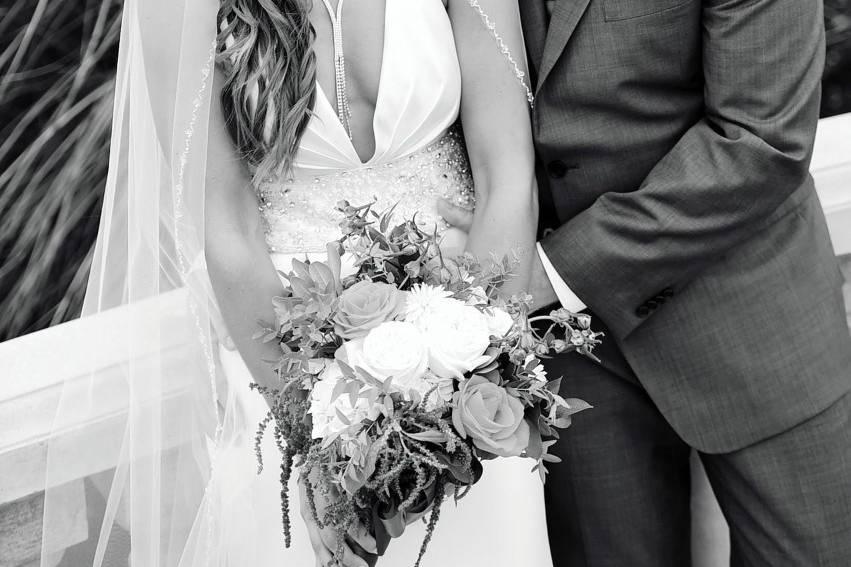 Loving bride and groom